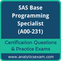 SAS Certified Specialist - Base Programming Using SAS 9.4 (A00-231) Premium Prac