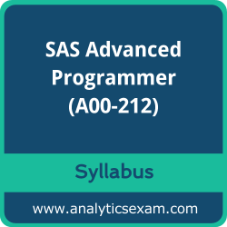 A00-212 Syllabus, A00-212 PDF Download, SAS A00-212 Dumps, SAS Advanced Programmer PDF Download, SAS Certified Advanced Programmer for SAS 9 Certification