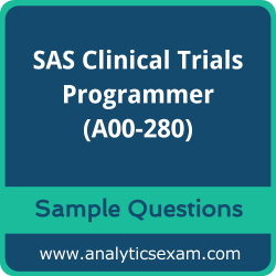 A00-280 Dumps Free, A00-280 PDF Download, SAS Clinical Trials Programmer Dumps Free, SAS Clinical Trials Programmer PDF Download, SAS Certified Clinical Trials Programmer Using SAS 9 Certification, A00-280 Free Download, A00-280 VCE, SAS Clinical Trials Programmer Certification Dumps, A00-280 Exam Questions PDF