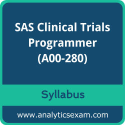 A00-280 Syllabus, A00-280 PDF Download, SAS A00-280 Dumps, SAS Clinical Trials Programmer PDF Download, SAS Certified Clinical Trials Programmer Using SAS 9 Certification
