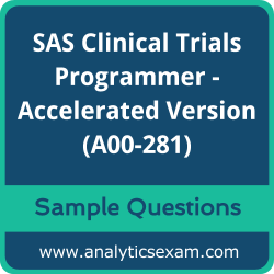 A00-281 Dumps Free, A00-281 PDF Download, SAS Clinical Trials Programmer - Accelerated Version Dumps Free, SAS Clinical Trials Programmer - Accelerated Version PDF Download, SAS Certified Clinical Trials Programmer Using SAS 9 - Accelerated Version Certification, A00-281 Free Download, A00-281 VCE, SAS Clinical Trials Programmer - Accelerated Version Certification Dumps, A00-281 Exam Questions PDF