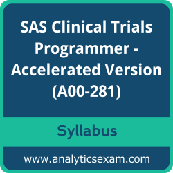 A00-281 Syllabus, A00-281 PDF Download, SAS A00-281 Dumps, SAS Clinical Trials Programmer - Accelerated Version PDF Download, SAS Certified Clinical Trials Programmer Using SAS 9 - Accelerated Version Certification