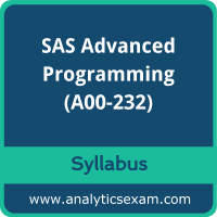 A00-232 Syllabus, A00-232 PDF Download, SAS A00-232 Dumps, SAS Advanced Programming Dumps PDF Download, SAS Certified Professional - Advanced Programming Using SAS 9.4 PDF Download