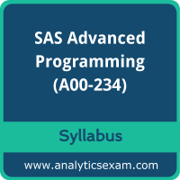A00-234 Syllabus, A00-234 PDF Download, SAS A00-234 Dumps, SAS Advanced Programming Dumps PDF Download, SAS Certified Professional - Advanced Programming Using SAS 9.4 Delta PDF Download
