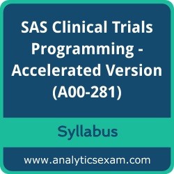 A00-281 Syllabus, A00-281 PDF Download, SAS A00-281 Dumps, SAS Clinical Trials Programming - Accelerated Version Dumps PDF Download, SAS Certified Clinical Trials Programming Using SAS 9 - Accelerated Version PDF Download